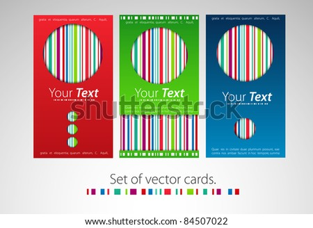 Set of color business cards with color lines