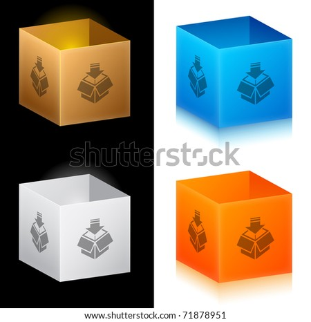 Set of color cardboard boxes