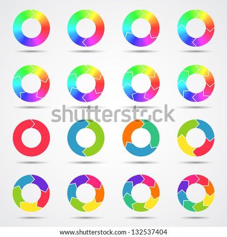 set of color circle arrows  big
