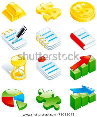 Set of color computer icons. Computer icons for web design - gold bars, dollar sign, coins, note, book, hourglass, charts, puzzle.