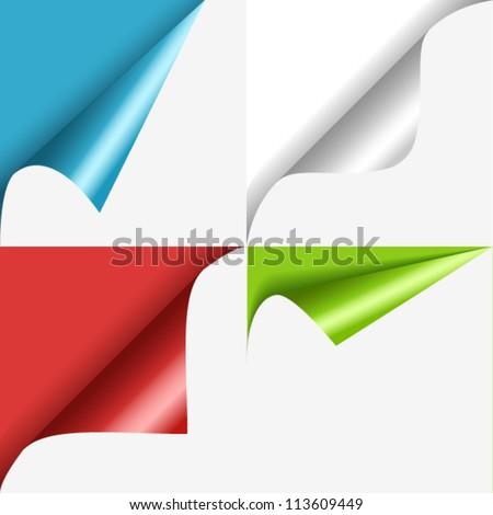 Set of color curled corners Foto d'archivio ©