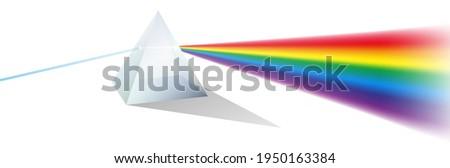 set of color dispersion through prism or triangular prism break lights into spectral color or various color passing through triangular prism concept. eps 10 vector Stockfoto ©