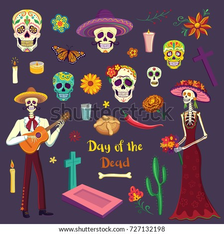 Set of color drawings in Cartoon style Day of the Dead. Mexican symbols, sugar skulls, mariachi, Katrina, flowers