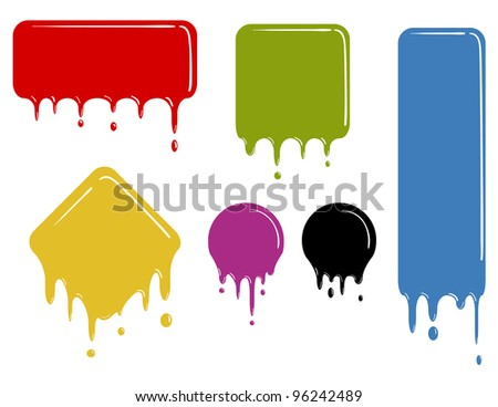 set of color dropping shapes - stock vector