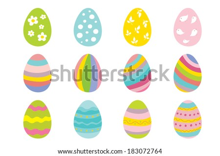 set of 12 color easter eggs