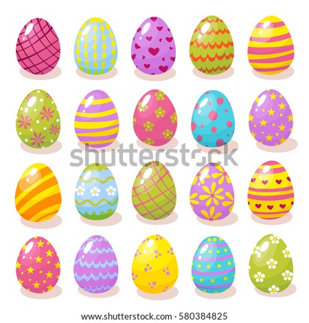 Set of color Easter eggs with shadow. Traditional symbol of Easter isolated on white background.