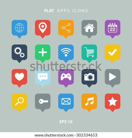 Set of color flat apps icons.