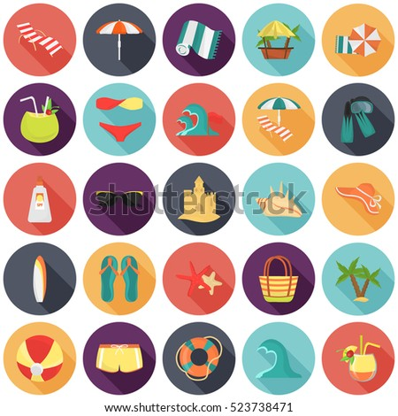 Set of color flat beach rest and travel icons for web and mobile design