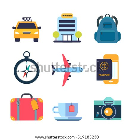 set of color flat icons for travel