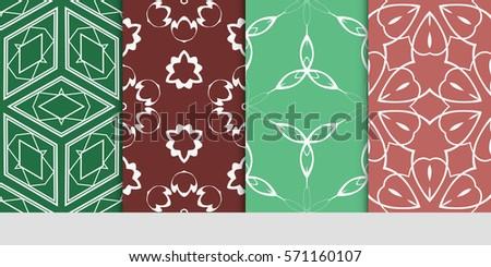 set of color floral, linear geometric ornament. modern pattern. seamless vector illustration. for interior design, textile, wallpaper
