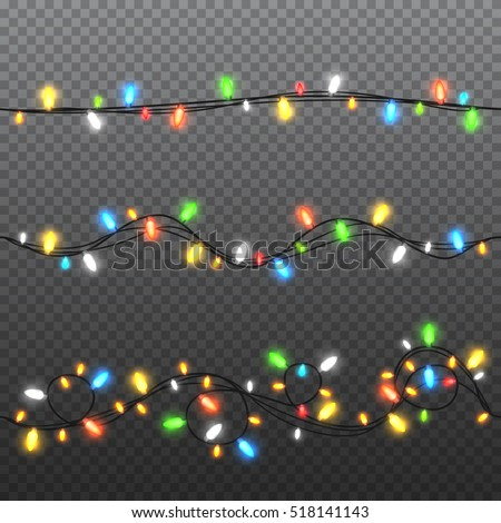 Set of color garlands, festive decorations. Glowing christmas lights isolated on transparent background. Vector seamless horizontal objects.