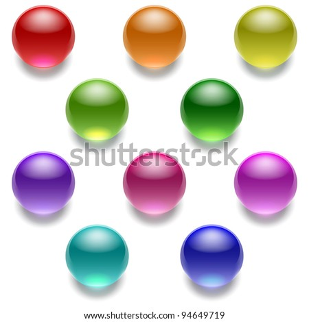 set of color glass balls - stock vector