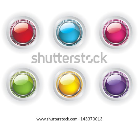 Set of color glass buttons