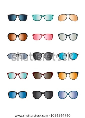 Set of color Glasses isolated. Vector Icons.