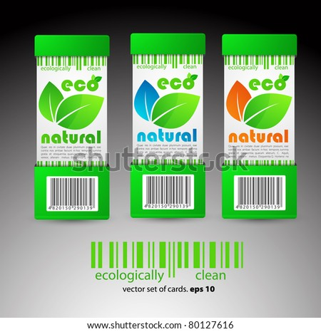 Set of color green vector eco tickets