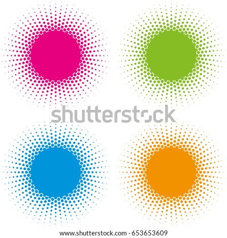 set of color halftone circle