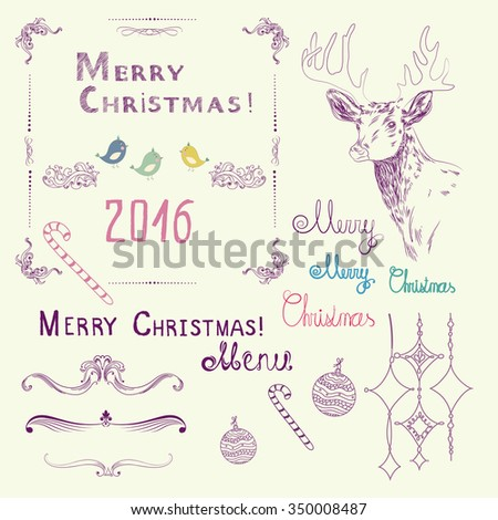 set of color hand drawing elements for merry christmas and happy new year card invitation