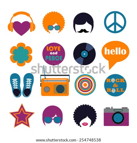 set of color hippie flat icons