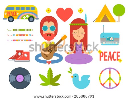 set of color hippie vector flat
