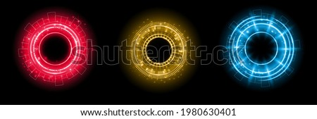 Set of color hologram portal. Magic fantasy portal. Magic circle with halo effect. Vector color glow scifi teleport with sparks and hologram, technology background Photo stock ©