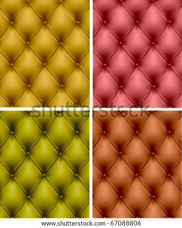 Set of color leather upholstery. Vector Illustration.