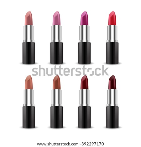 set of color lipsticks red