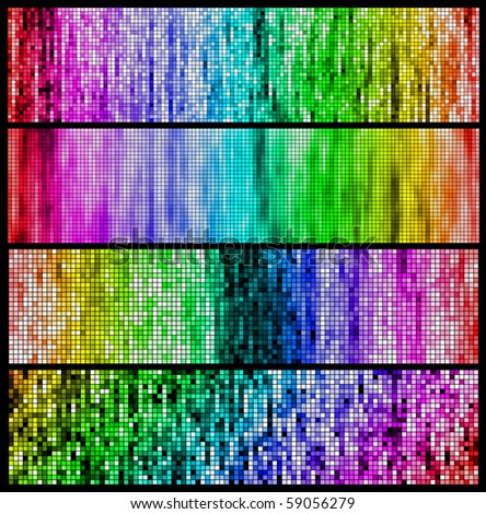 Set of color mosaic banners. Vector.
