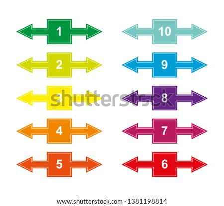 Set of color numbered squares with numbers from 1 to 10 with right and left arrows for design and decoration of projects, presentations, plans. Tab with numbering.