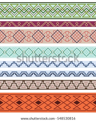 Set of color ornate borders. Pattern brushes are included in vector file.