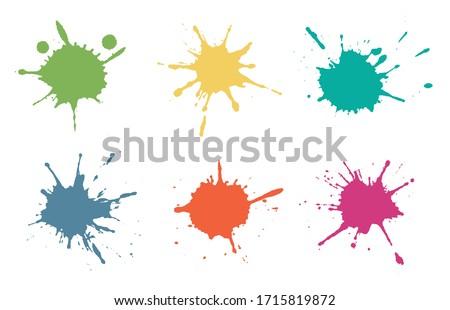 Set of color paint splashes.Paint splatters collection. Zdjęcia stock ©