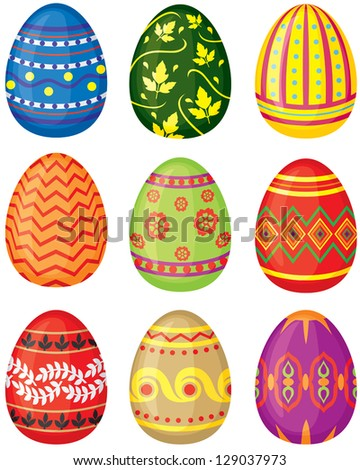 Set of color painted Easter eggs. Vector illustration. No transparency.