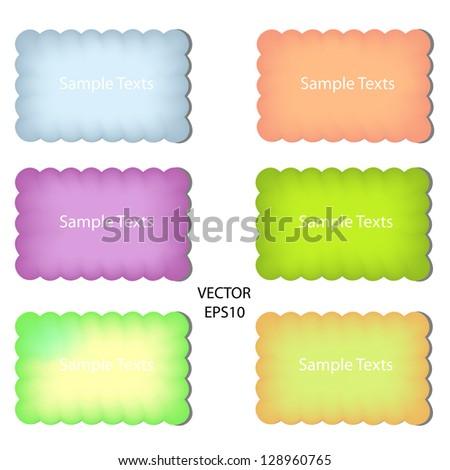 set of color paper notes,paper box,text box,vector