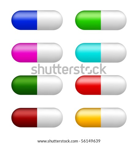 set of color pills