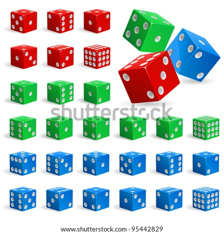 Set of color realistic dice. Illustration for design on white background