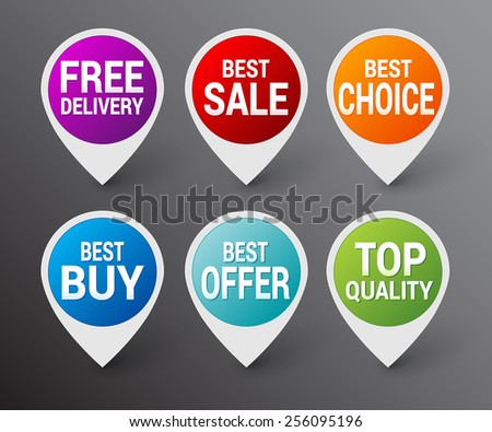 Set of color sale pointer