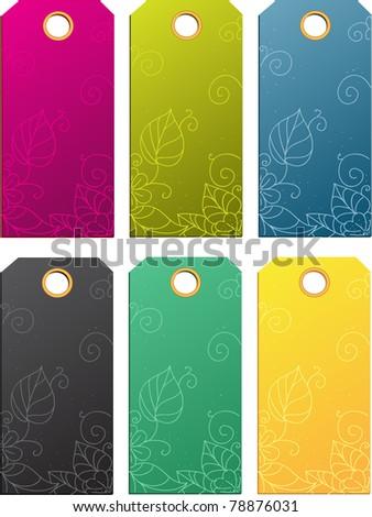Set of color sale tags