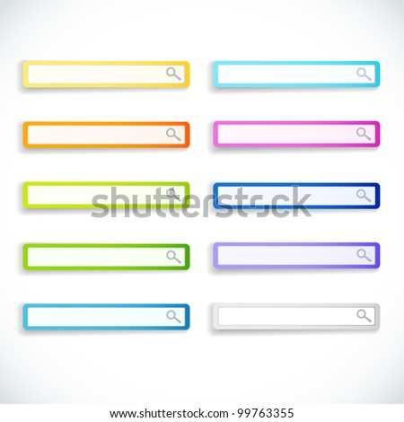 Set of color search bars. Vector illustration