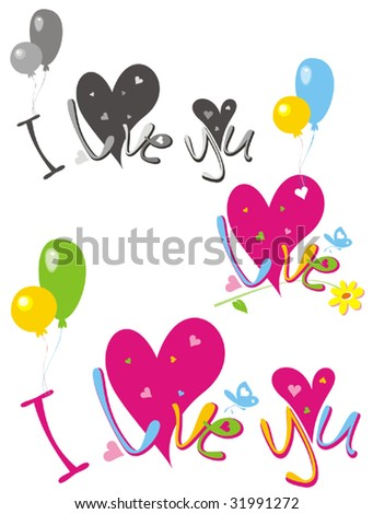 i love you pictures to color. quot;I love youquot;with balloon.