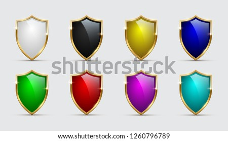 set of color shields icons with
