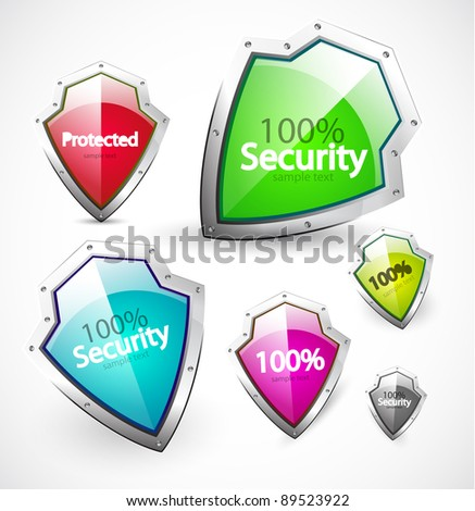 Set of color shields with sample text