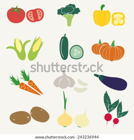 set of color simple vegetables icons eps10 #243236944