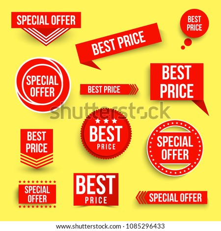 Set of color special offer and best price banners. Vector illustration.