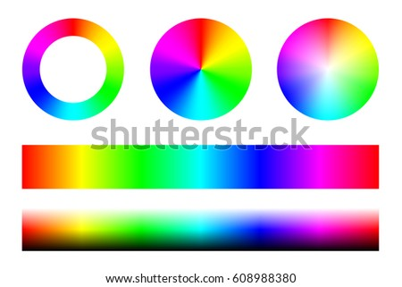 Set Of Color Spectra RGB Wheel Circles And Stripes Vector