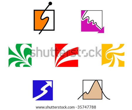 Set of color symbols isolated on white - abstract emblem or logo template