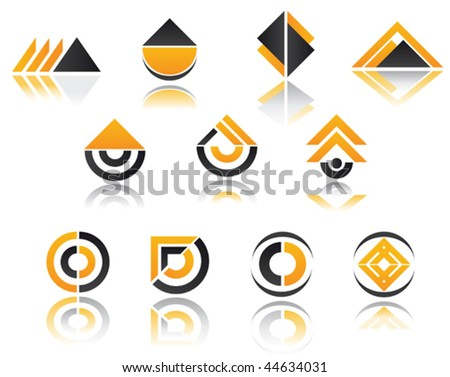 Set of color symbols isolated on white - as emblems or template. Jpeg version version is also available
