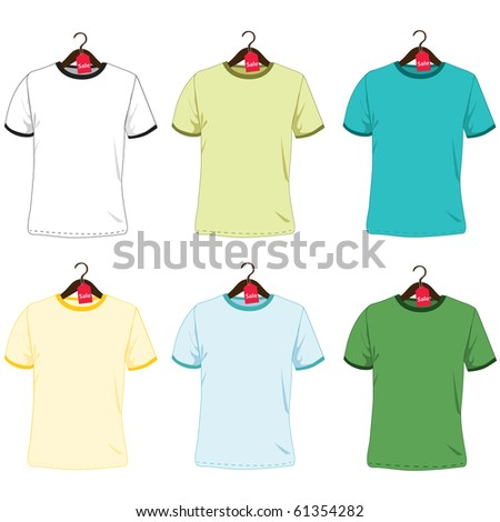 Set of color t-shirts on a hanger