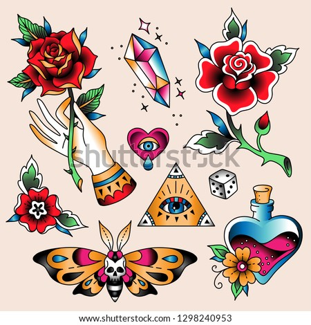 Set of  color tattoos at traditional vintage style. Romantic symbols
