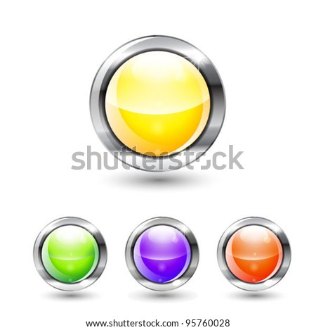 Set of color vector glossy buttons