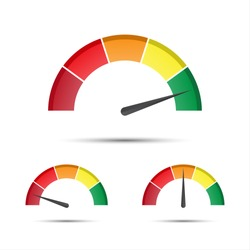 Set of color vector tachometers, flowmeter with indicator in green, orange and red part, speedometer and performance measurement icon, illustration for your web page, infographic, apps and leaflet