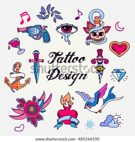 set of color vintage tattoos